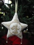 Angel on Star beaded Christmas Decoration